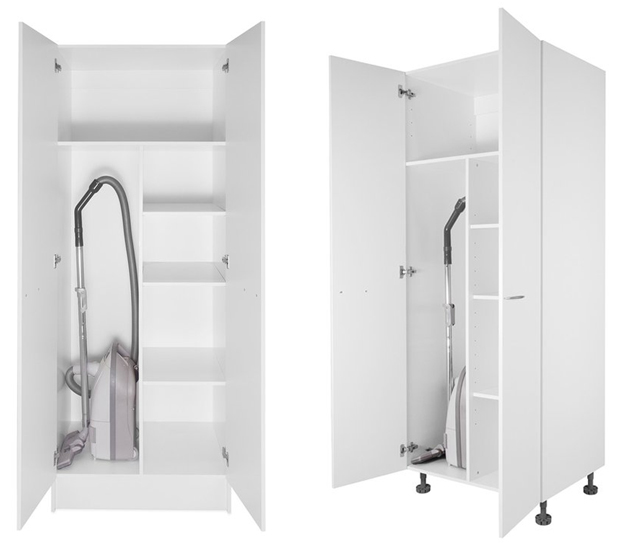 Cabjaks' tall storage cabinet uses PanelWhite for the backing